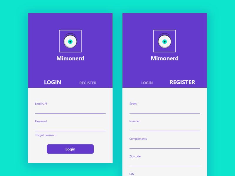 Mimonerd Store register form logo form login page login form register login geek button ux interface design app ui