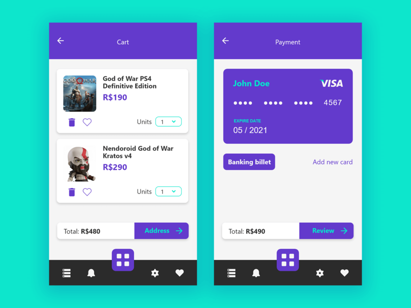 Mimonerd Store cart shop payment geek card button ux interface design app ui