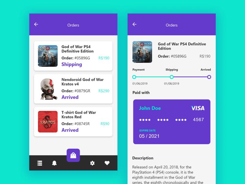 Mimonerd Store list product nav menu credit purple chart shipping payment geek card ux app interface design ui