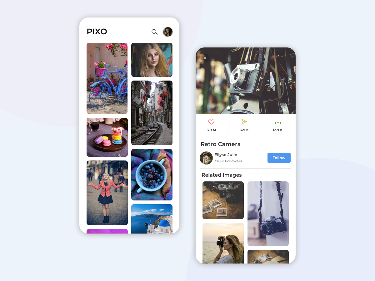 Pixo | Stock Photo Mobile App UI grid stock photo layout landscape follow collection minimal picture photo interface design image gallery image typogaphy android ios clean app mobile ui ux