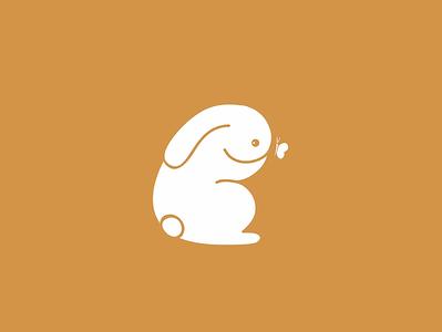 White rabbit rabbit vector illustration logo