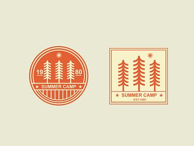 Summer Camp retro tree summer camp badge sticker