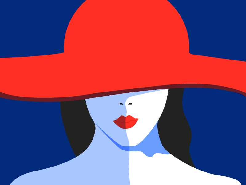 Fashion Illustration red illustration minimal lips fashion hat girl