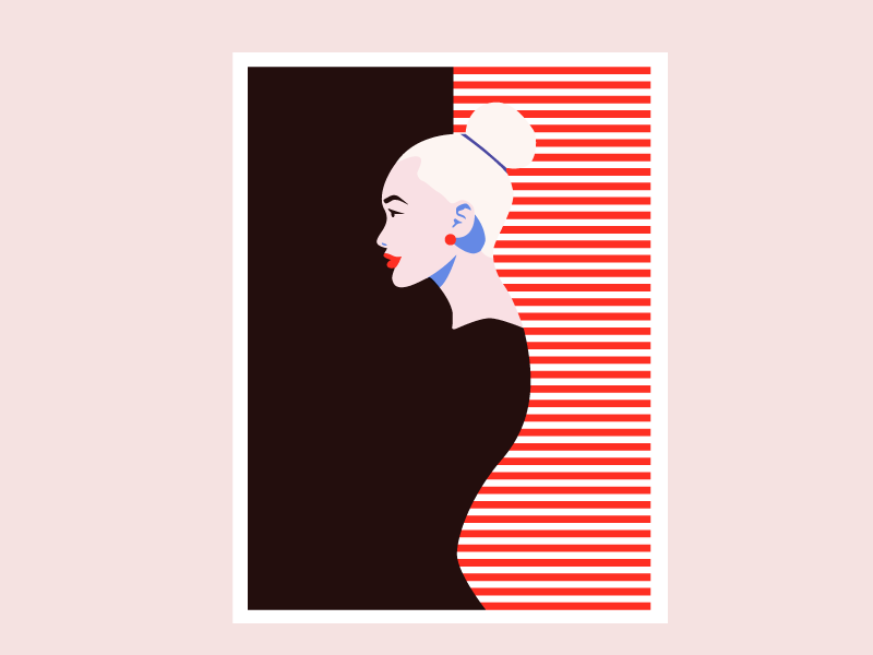 Girl red illustration minimal lips fashion flat girl