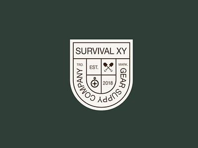 Surviaval Badge brand design gear compas trademark badge