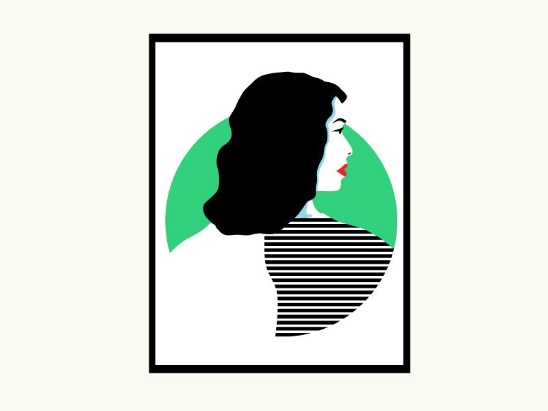 Girl poster stripes green red illustration minimal lips fashion flat girl