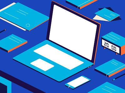 Desk papers office blue phone laptop pen desk