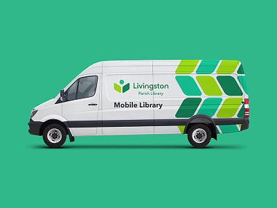 Mobile Library Van vehicle van mobile library logos logo design library logo learning brand identity