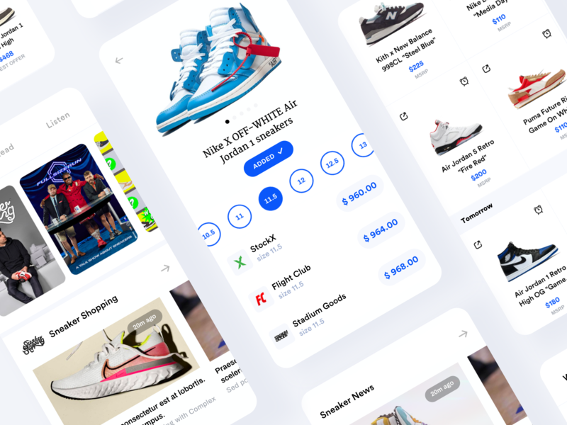 Sole Collector | Sneaker App modern collection size shoe card minimal clean ux ui app sneaker mobile