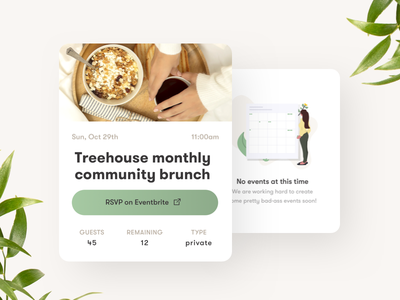 Event card for mobile app reservation application calendar ui white mockup photo layout off white 2018 ux clean plants mobile food interface events empty state minimal card ui
