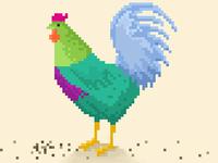 Rainbow Rooster Pixel Art