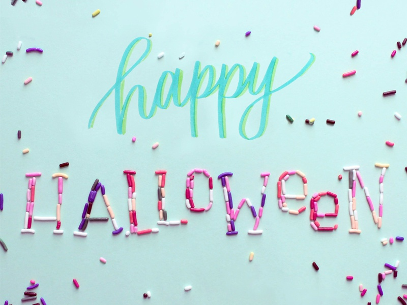 Happy Halloween halloween lettering typography food type sprinkles