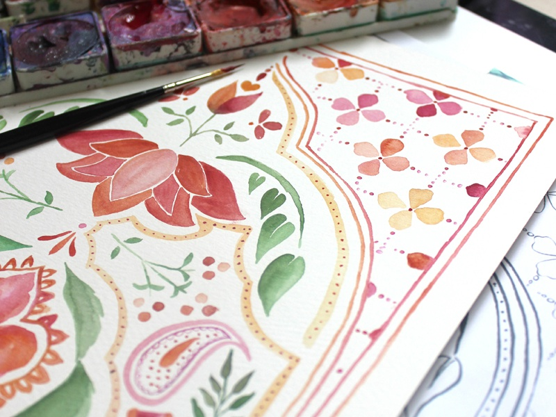 Watercolor Pattern Design invitation painting floral watercolor pattern