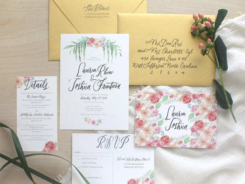 Floral Watercolor Invitation Suite paper goods typography lettering invitation watercolor floral