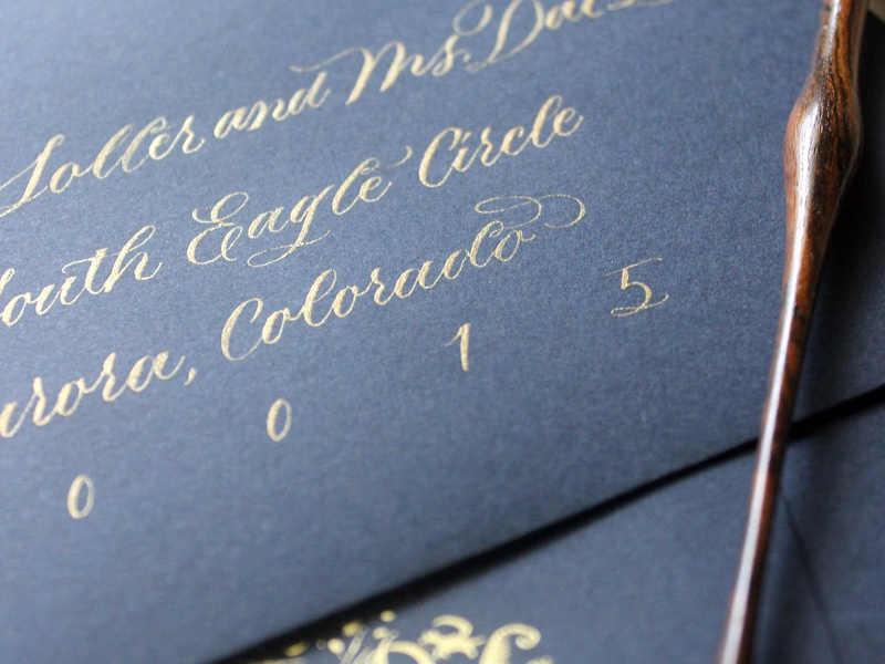 Gold Calligraphy Envelopes typography lettering copperplate calligraphy