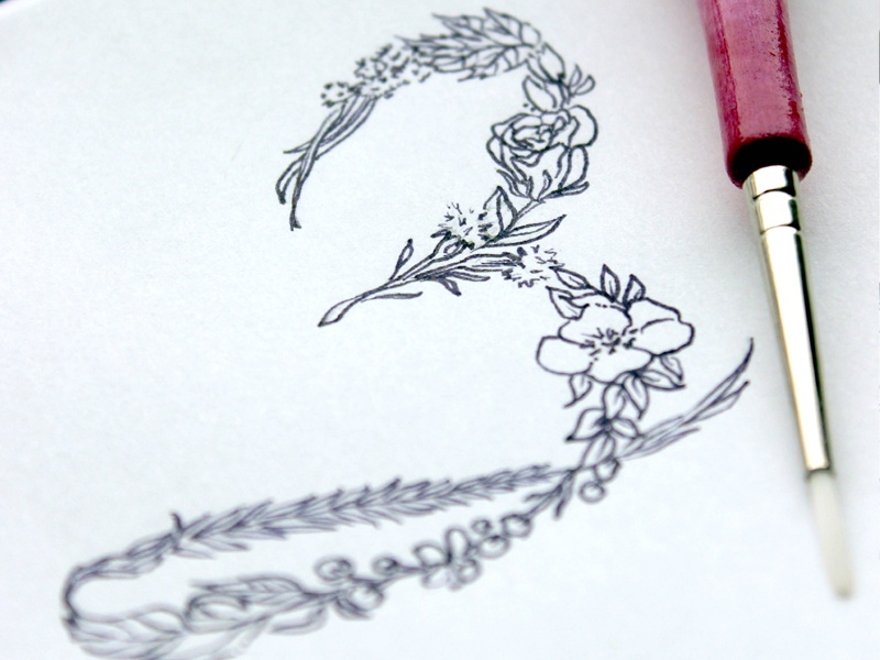Floral Typography numbers sketching floral typography