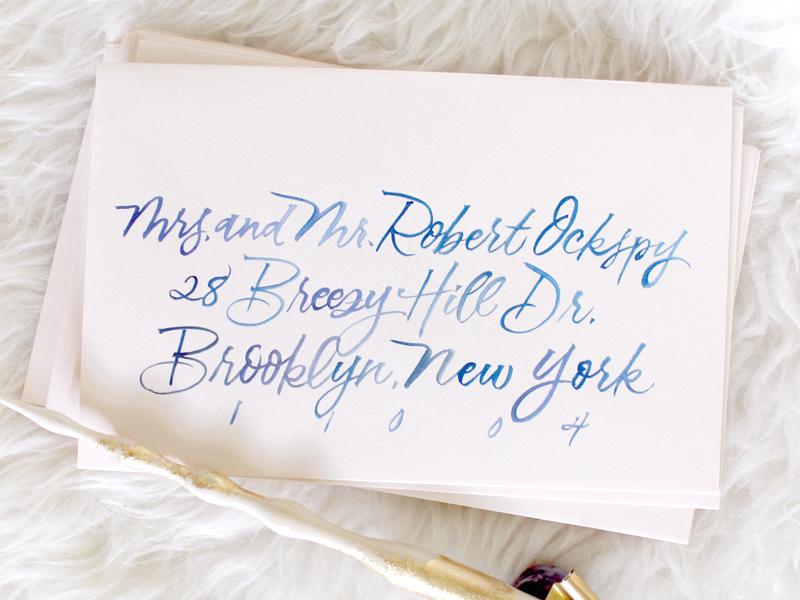 Brush-lettered Envelope typography brush lettering wedding envelope