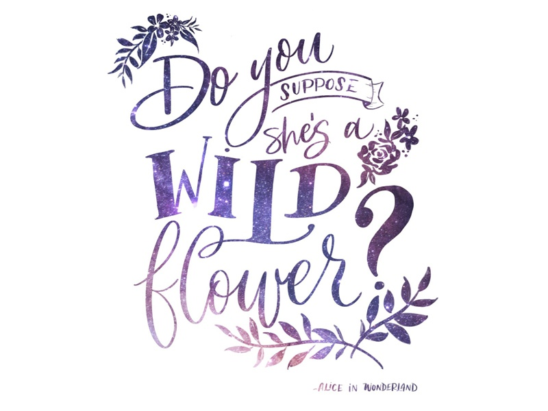 Wildflower alice in wonderland typography apple pencil