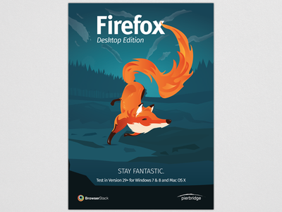 Firefox testing awareness poster night woods poster fire fox browserstack firefox