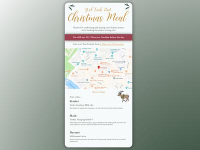 Christmas party mini-site maps food menu single page website xmas christmas