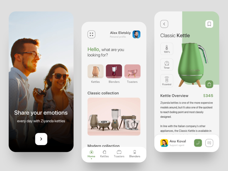Appliances mobile app appliances applicaiton kettle ui ux interface product home modern concept design white green concept kitchen design app mobile