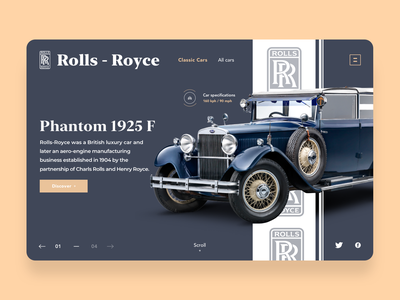 Classic Cars website design blue rolls royce brand luxury cars car ecommerce shopping webpagedesign interface product page product design web design adobexd concept web webpage webdesign website
