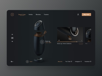 Product page video player navigation homescreen homepage smarthome smart minimal product interface dark mode dark ui web website design web design webdesign website product design