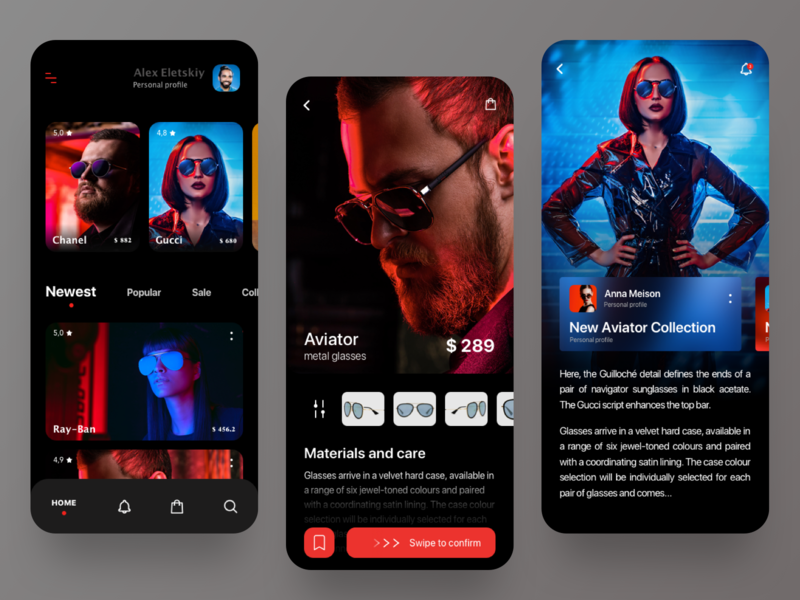 Mobile app glasses shop colors branding mobile app blog article homepage design home screen homepage product page interface dark theme dark mode dark app dark ui glass glasses mobile minimal