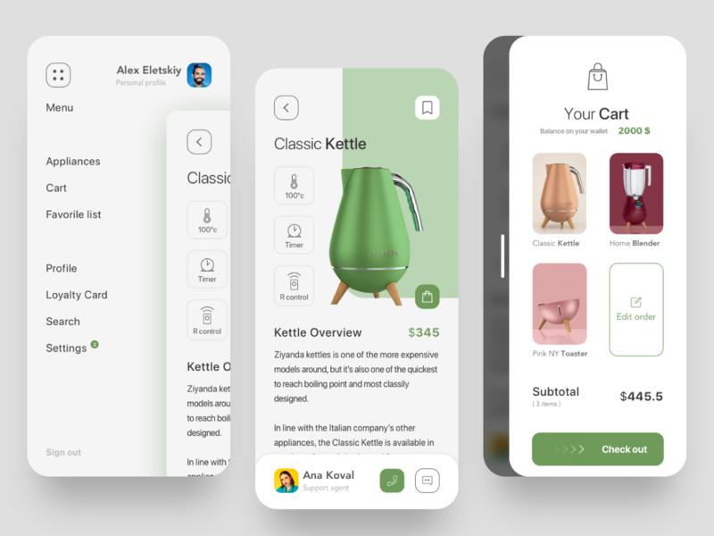 Appliances mobile app settings cart branding clean product page menubar menu e commerce ecommerce mobile ui mobile mobile app product design ui interface