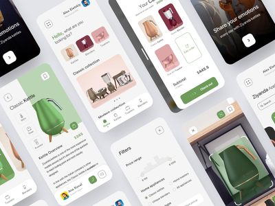 Appliances mobile app smart home cart filters product product page home screen white ui ecommerce scan white concept mobile toaster kettle appliances minimal clean mobile app product design interface