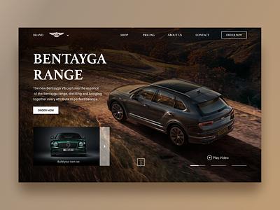 Bentley Bentayga shop ecommerce luxary dark mode dark ui video car bentley auto minimal home screen homepage website design website product page product design mobile app interface