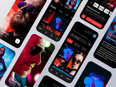 Glasses shop. Mobile app. clean app minimal blog mobile app home screen home page sun glasses product design news dark mode interface ui dark theme