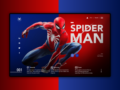 Spider Man spider man minimal product main screen main page hero section hero banner hero colors branding product page product design design website web webdesign interface ui  ux ux ui