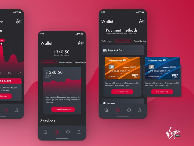 Virgin mobile app design by Alex Eletskiy on Dribbble