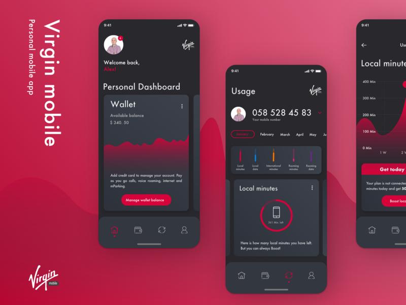 Virgin mobile app colors clean virgin dark ui wallet usage data visualization data personal ui  ux dashboard ui dashboard design dashboad dark branding product design design interface ux ui