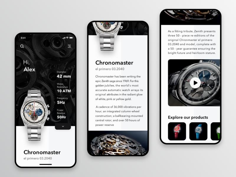 Zenith watches mobile app