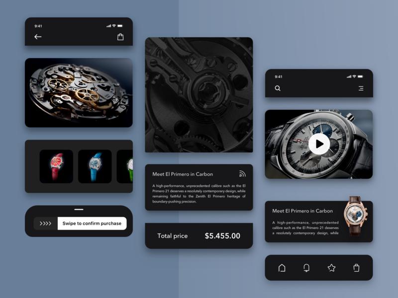 Zenith watches mobile app elements