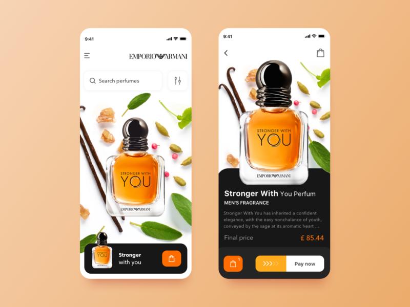 Perfume app debut colors white clean armani product ios cards ecommerce design product design branding minimal parfume perfume mobile app app interface ux ui