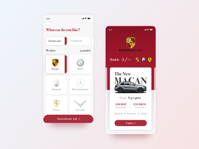 Luxury cars mobile app porsche mobile debut concept white car product page ecommerce ios cards branding clean app mobile app minimal product design design interface ux ui