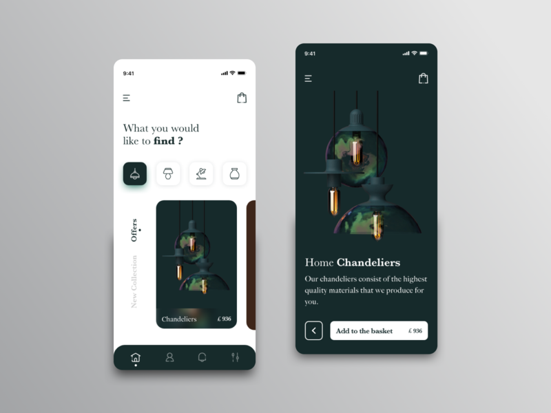 Interior Shop Mobile App Design chandelier vase green debut ecommerce decor interaction uiux lamp navigation cards app mobile app minimal product design interface ux ui