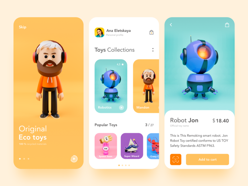 Toys Shop App games children shopping ecommerce cards minimal concept mobile yellow colors app toys mobile app product design design interface ux ui