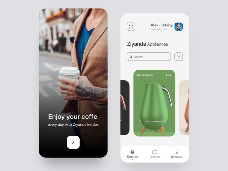 Ziyanda Appliances mobile app mobile app design kitchen concept green clean home minimal product design interface ux ui