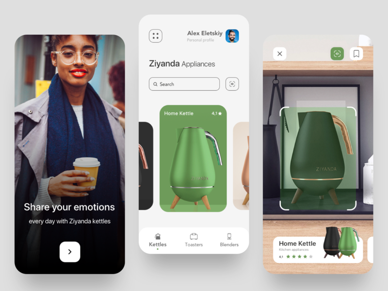 Appliances Mobile App white appliances scan scanning scanner product page product design ui ux interface minimal product home green concept kitchen clean design app mobile