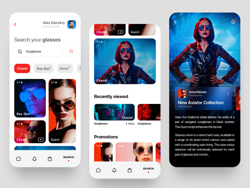 Mobile app glasses shop fashion glamour debut white apple mobile gallery interface colors mobile app clean minimal product design filters search sunglass glass app ux ui