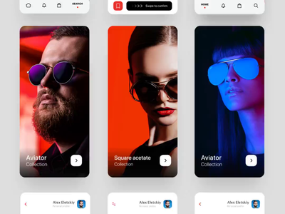 Mobile app glasses shop ux ui screens white mobile ui clean colors animation interface product design app interaction product mobile app mobile brand brand glasses sunglasses mobile minimal