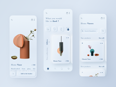 Skeuomorphism Interior Shop Mobile App Design branding application lamps vase sale ecommerce decor home mobile app products cards navigator interface clean white skeuomorphic mobile app skeuomorphism skeuomorph