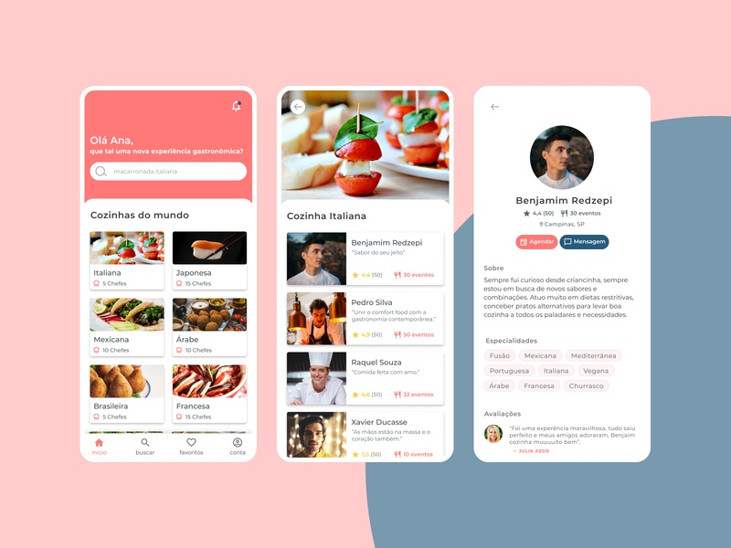 Chef in home home food red uidesign ui design cookier cook app ios design uiux ui chefs chef