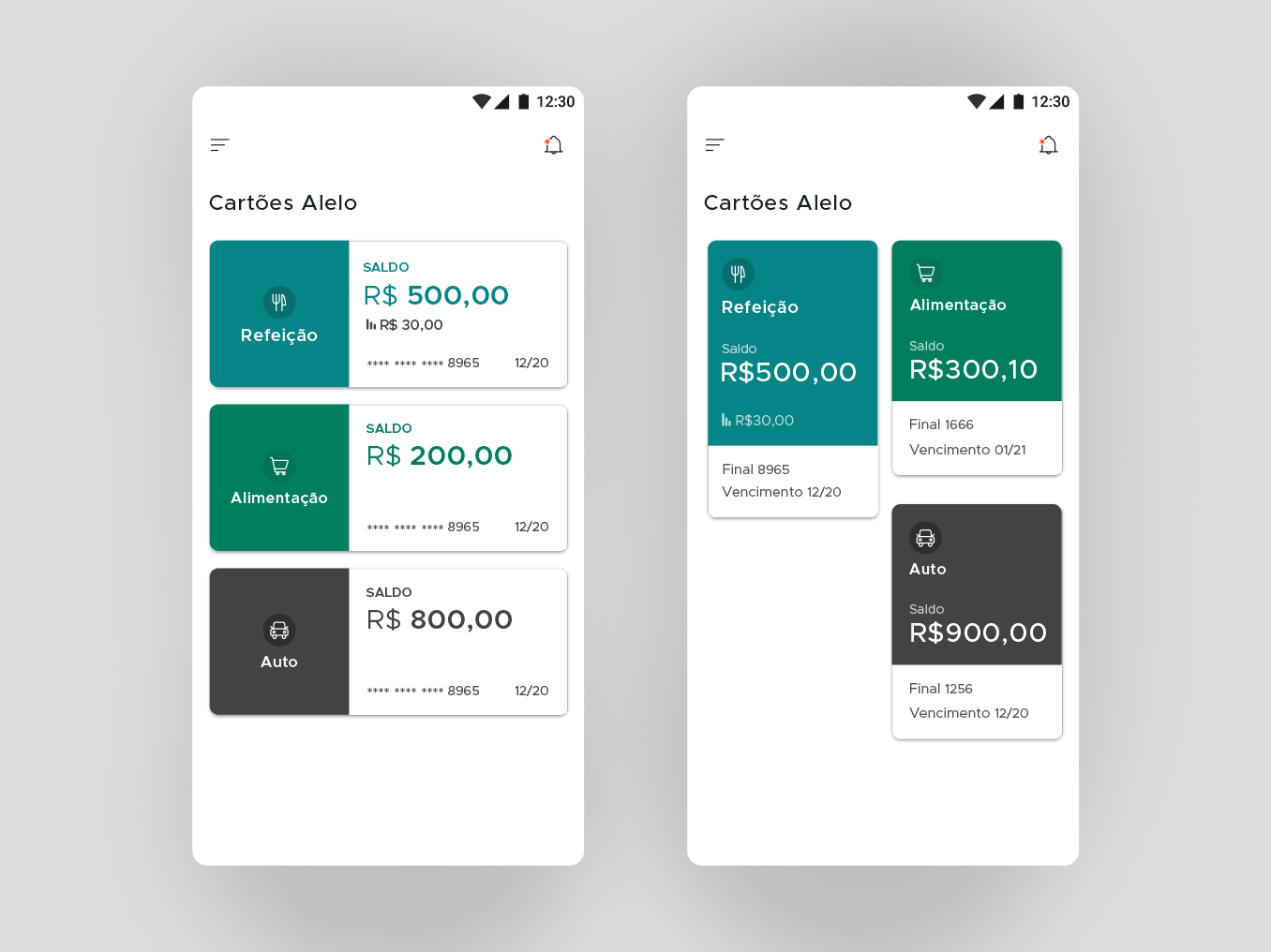 Alelo Redesign card interface design interface app wallet android alelo credit card ui ux designer uidesign adobexd photoshop