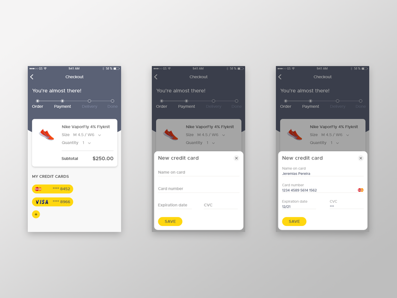 Daily UI #002: Credit Card Checkout adobexd daily ui ui daily ui  ux ios app credit card checkout credit card payment credit card form credit card 002 ui design