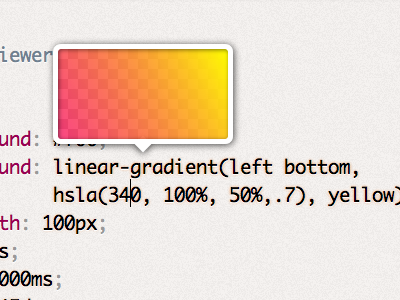 Mystery upcoming project UI detail: CSS gradient preview css gradient ui dabblet